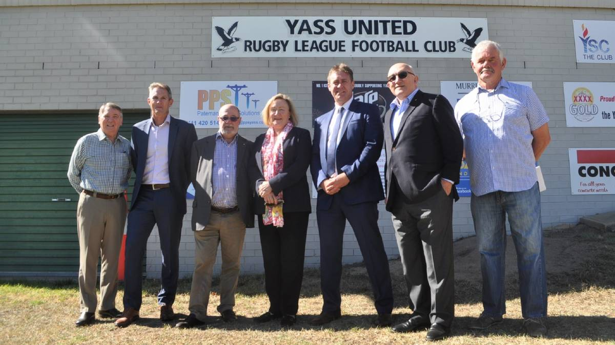 PUSH FOR UPGRADES: Board members from the Canberra Raiders with Yass Valley mayor Rowena Abbey and Ross Webster (far right) at Walker Park discuss the upgrades needed. Photo: Toby Vue