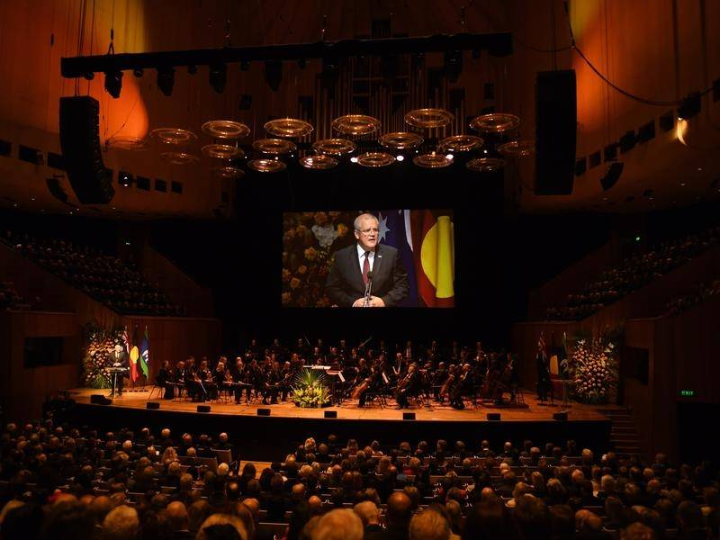 Scott Morrison has led the tributes to Bob Hawke during a state memorial at the Sydney Opera House.